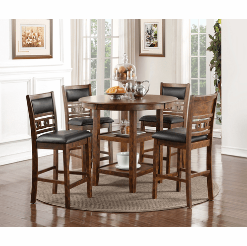 New Classic Brown 5 Piece Counter Dining Set