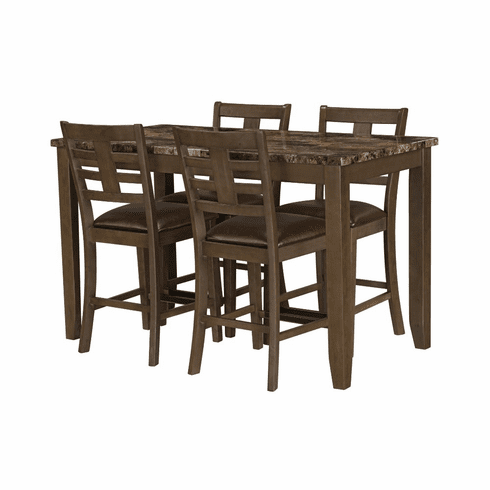 Standard Canaan Brown 5 Piece<br>Counter Dining Set