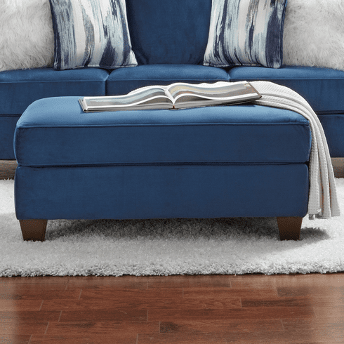 Velour Navy Ottoman<br>Affordable Furniture