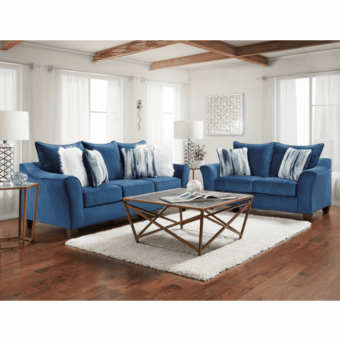 Affordable Furniture<br>Velour Navy Sofa