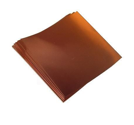 "18 Gauge Copper Sheet (40 Mil) 8"" X 8"" (One Sheet)"