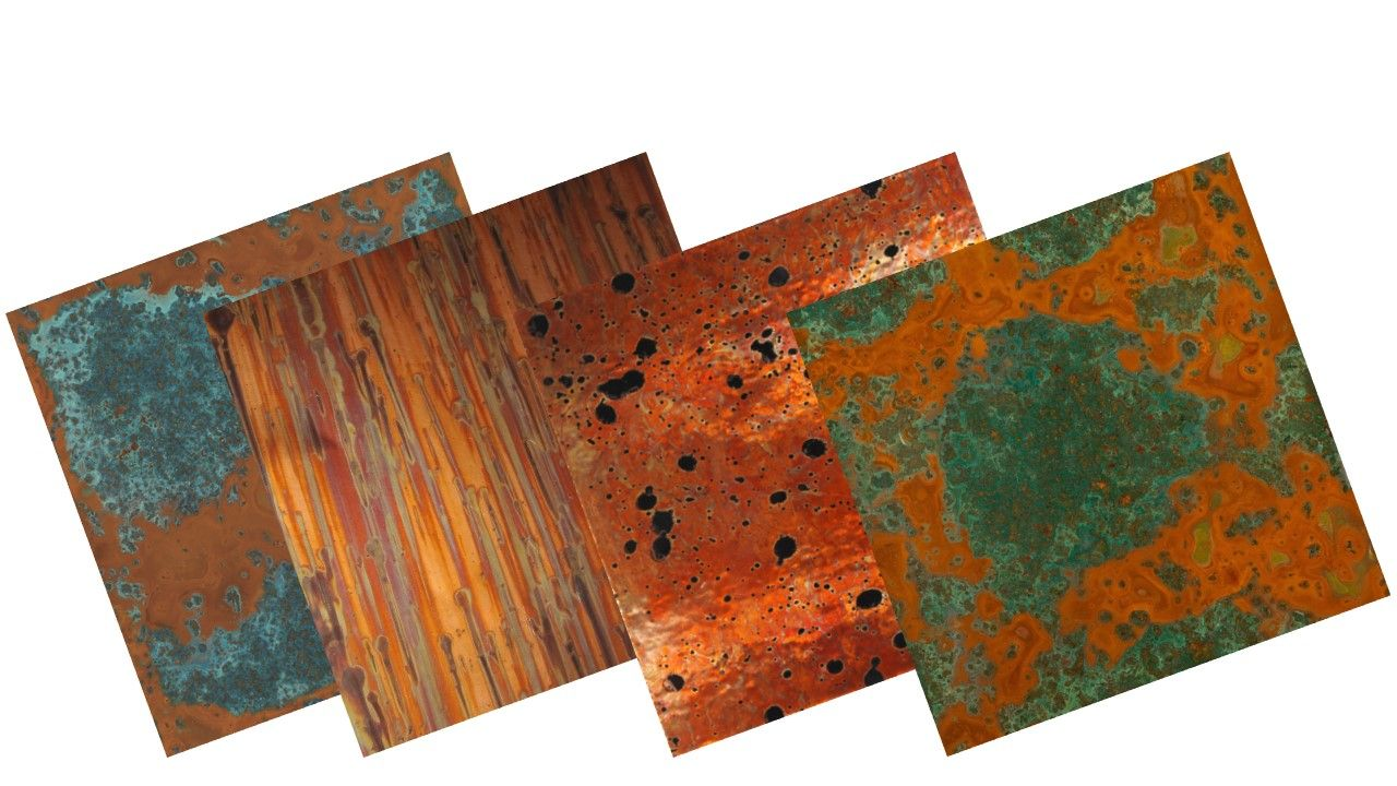 Individual Samples of Patina Copper Sheets