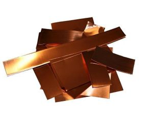 5 lbs. Copper Sheet Remnant Pieces- 22 Mil
