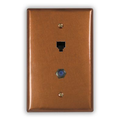 1-Phone Jack 1-Cable Jack Copper Outlet Cover