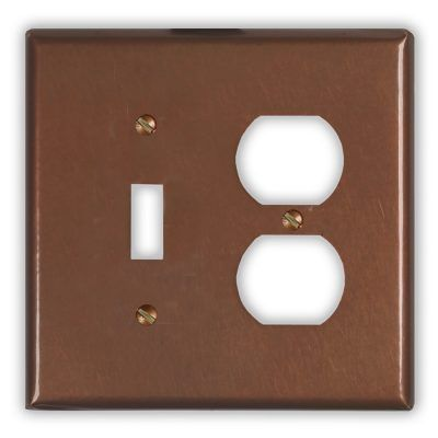 1-Toggle 1-Outlet Copper Switch Plate