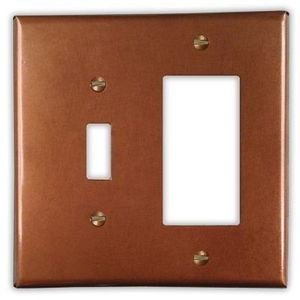 1-Toggle 1-Rocker Copper Switch Plate