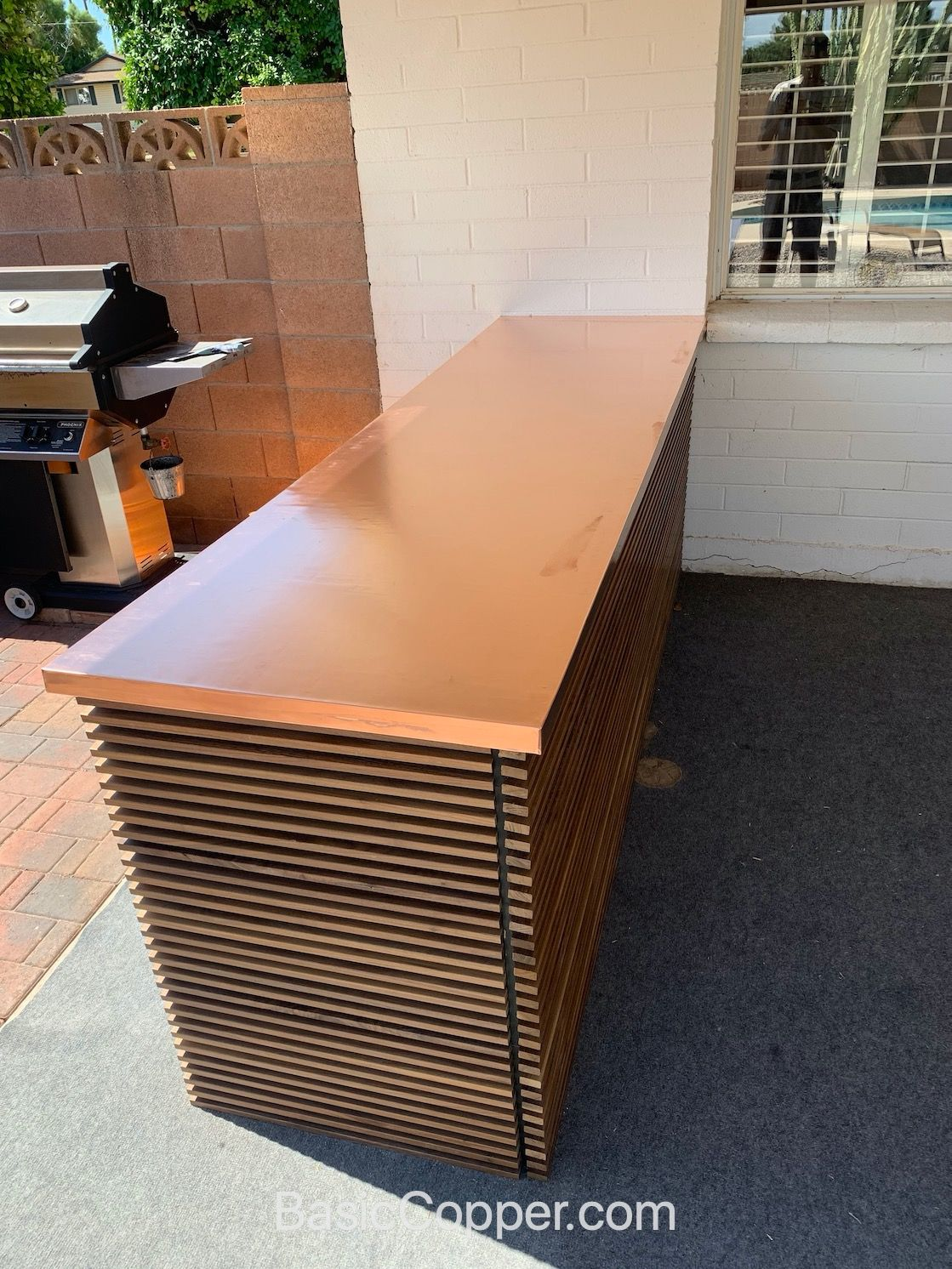 Outdoor Copper Countertop for a BBQ