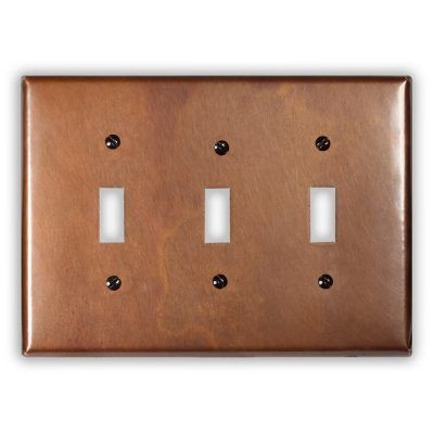 3-Toggle Copper Switch Plate
