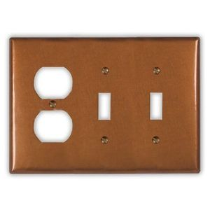 2-Toggle 1-Outlet Copper Switch Plate