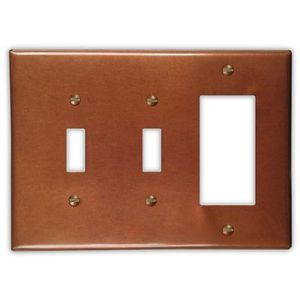 2-Toggle1-Rocker Copper Switch Plate