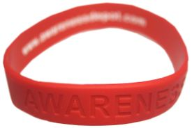 "Red Silicone ""Awareness"" Bracelet for AIDS Awareness"