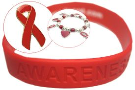 AIDS Awareness Month bracelet special! 100 red bracelets + free pins!
