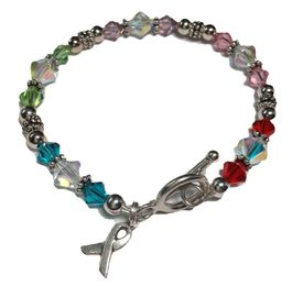 All Cancer Awareness Bracelet with Sterling Silver and Swarovski Crystals