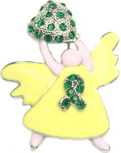 Angel Awareness Rhinestone Brooch - Green