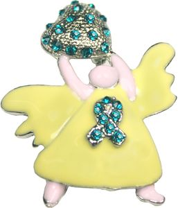 Angel Awareness Rhinestone Brooch: Pick your color: Pink, Red, Green, Lime, Teal, Purple, Orange, Blue