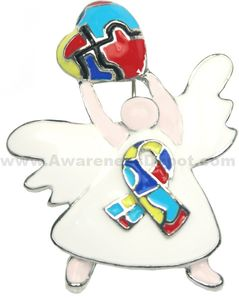 Autism Angel Heart Brooch