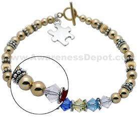 Autism Awareness 14k yellow gold filled Bracelet 05