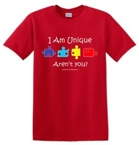 "Autism Awareness Adult Shirt ""I Am Unique...Aren't You?"""