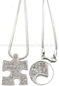 Autism Awareness CRYSTAL Puzzle Piece Necklace