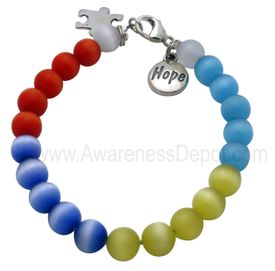 Autism Cat Eye Beads Sterling Silver Bracelet