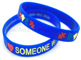 "Autism Debossed Silicone Bracelet ""I Love Someone With Autism"""