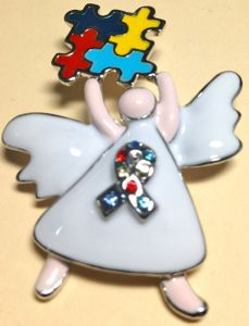 Autism Enamel Angel Brooch with White Dress