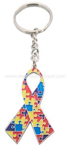 Autism Metal Ribbon Key Chain