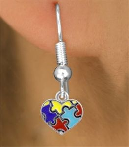 Autism Mini Puzzle Heart Earring