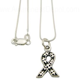 Autism Ribbon Charm Sterling Silver Necklace