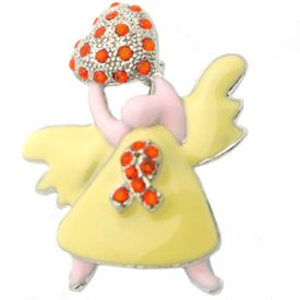 Awareness Angel Rhinestone Brooch - Orange