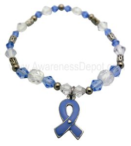 Awareness Stretch Beaded Bracelet - Light Blue