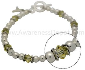 Bladder Cancer Sterling Silver and Swarovski Crystal Bracelet