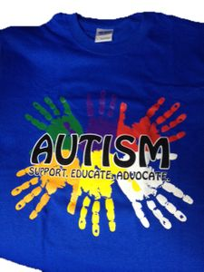 "Blue Autism Awareness Adult Shirt ""Support, Educate, Advocate"""