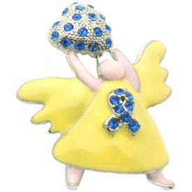 Blue Rhinestone Angel Pin