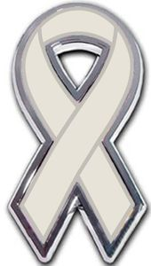Brain Tumor Ribbon Chrome Auto Emblem