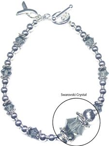 Brain Tumor Sterling Silver and Swarovski Crystal Bracelet