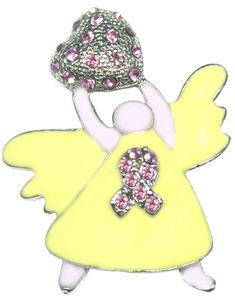 Breast Cancer Rhinestone Angel Pin - Pink