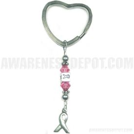Breast Cancer Swarovski Crystal and Sterling Silver Key tag