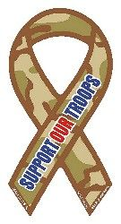 "Camouflage Support Our Troops Decal Small 2""x4"""