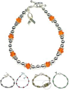 Cancer Awareness Swarovski Crystal and Sterling Silver bracelet