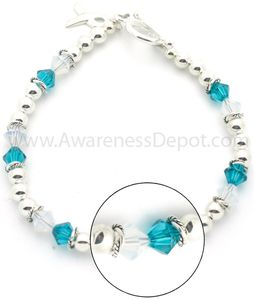 Cervical Cancer Sterling Silver and Swarovski Crystal Bracelet