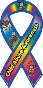 "Child Abuse Awareness Static Ribbon Decal Small 2""x4"""