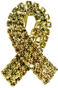 Childhood Cancer Gold Rhinestone Ribbon Pin