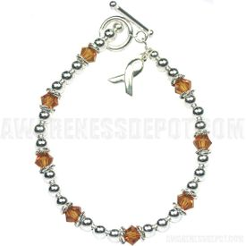 Childhood Cancer Sterling Silver and Swarovski Crystal Bracelet
