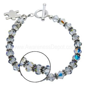 Clear Swarovski Crystal Autism Awareness Bracelet 06