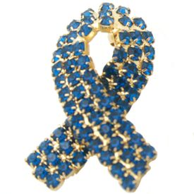 Colon Cancer Rhinestone Ribbon Pin