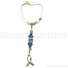 Colon Cancer Swarovski Crystal and Sterling Silver Key tag
