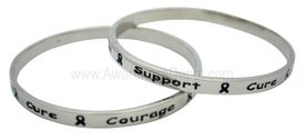 Cure, Courage, Support Silver Tone Bangle Bracelet