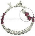 Custom Sterling Silver and Swarovski Cancer Name Bracelet
