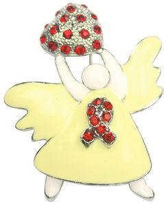 Diabetes Awareness Rhinestone Angel Pin - Red